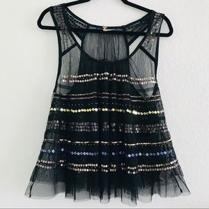 Free people tulle Sequin babydoll Top black